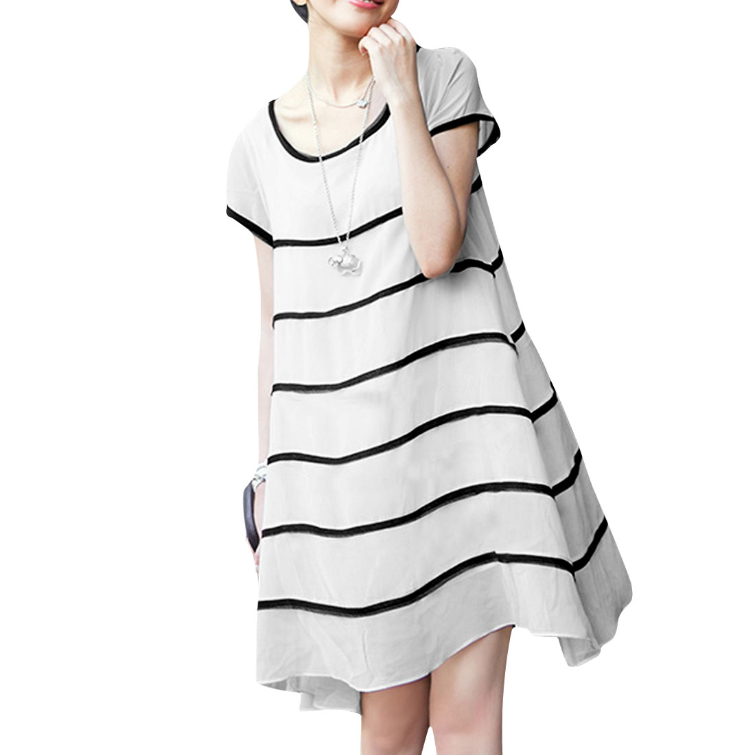 Lady Pullover Scoop Neck Stripes Prints Semi-sheer White Dress XS