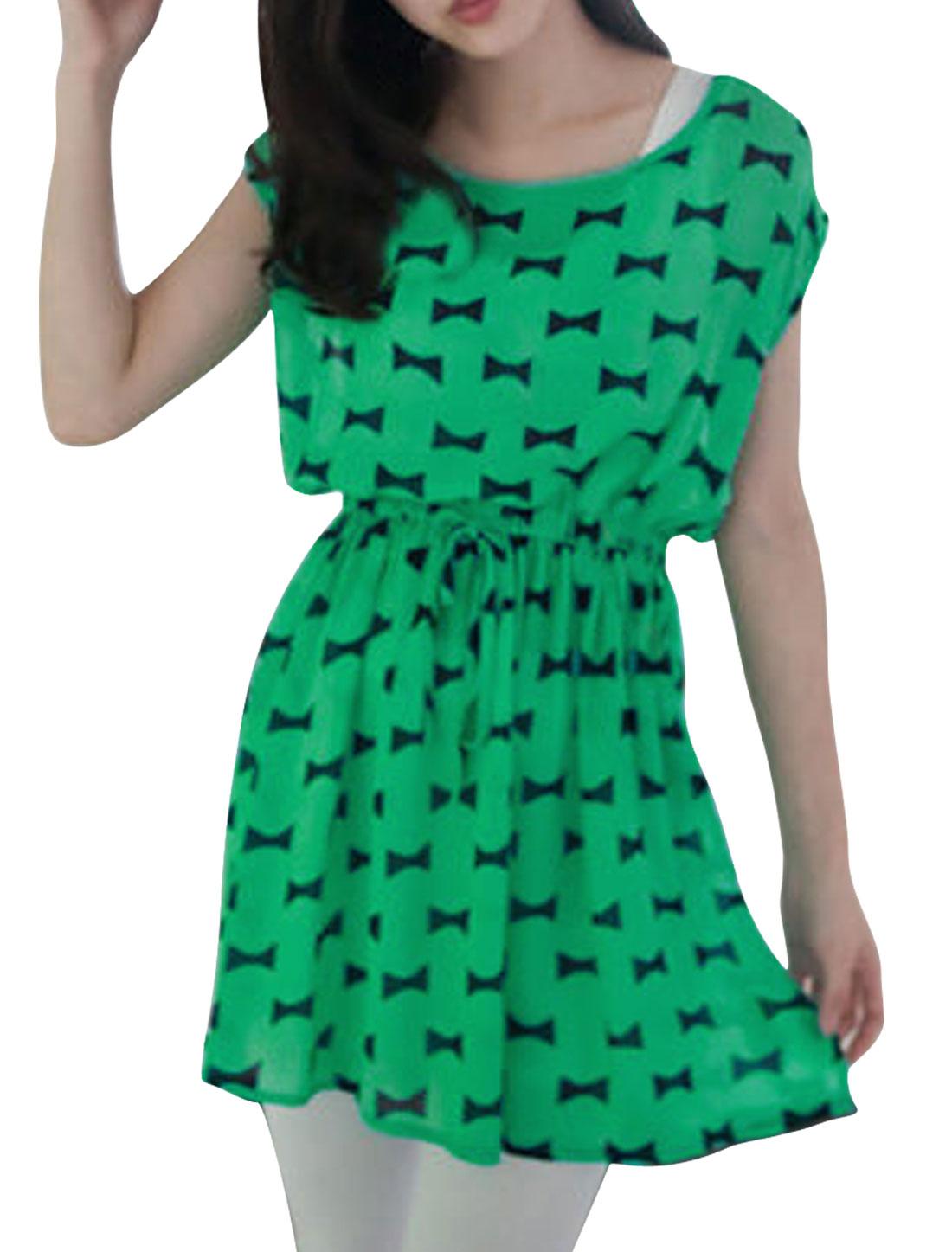Woman Round Neck Sleeveless Drawstring Waist Bowtie Prints Green Mini Dress XS