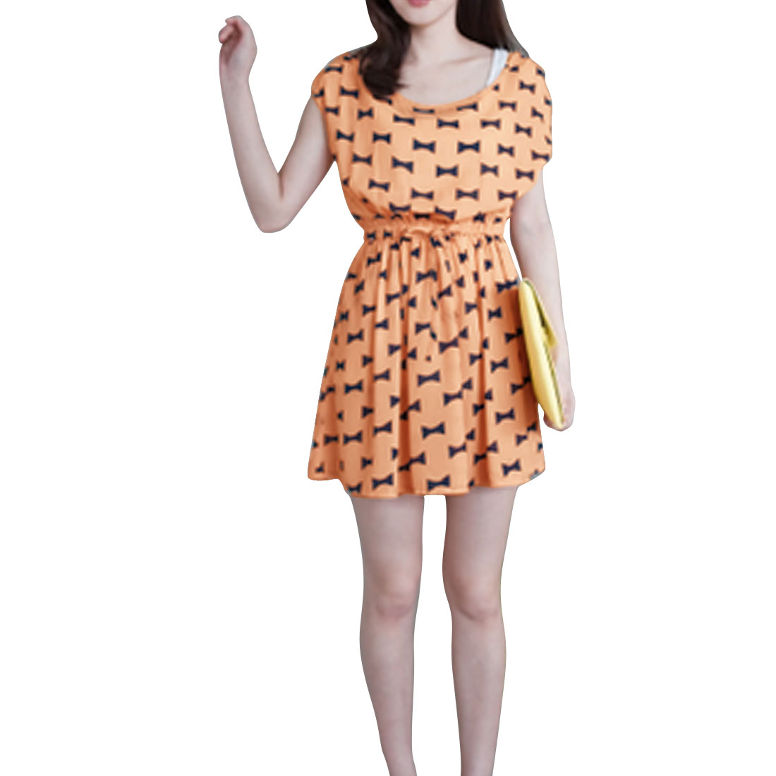 Ladies Round Neck Sleeveless Draw Cord Waist Bowtie Prints Apricot Mini Dress XS