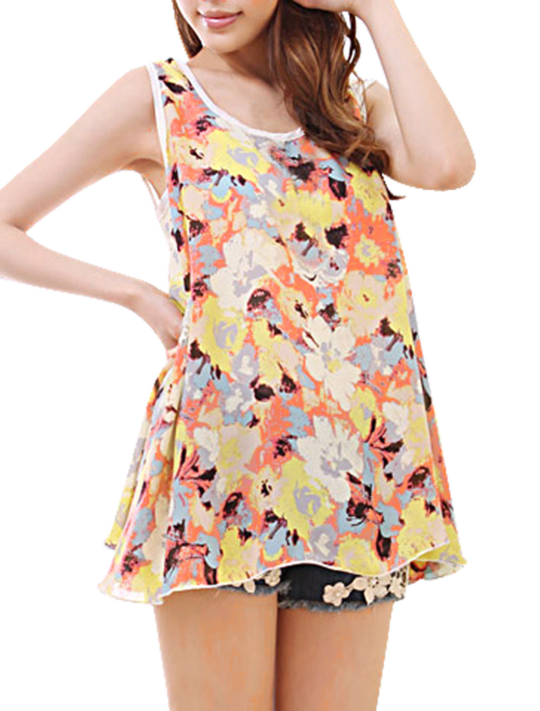 Ladies Multicolor Floral Prints Leisure Sleeveless Summer Chiffon Tank Tops S