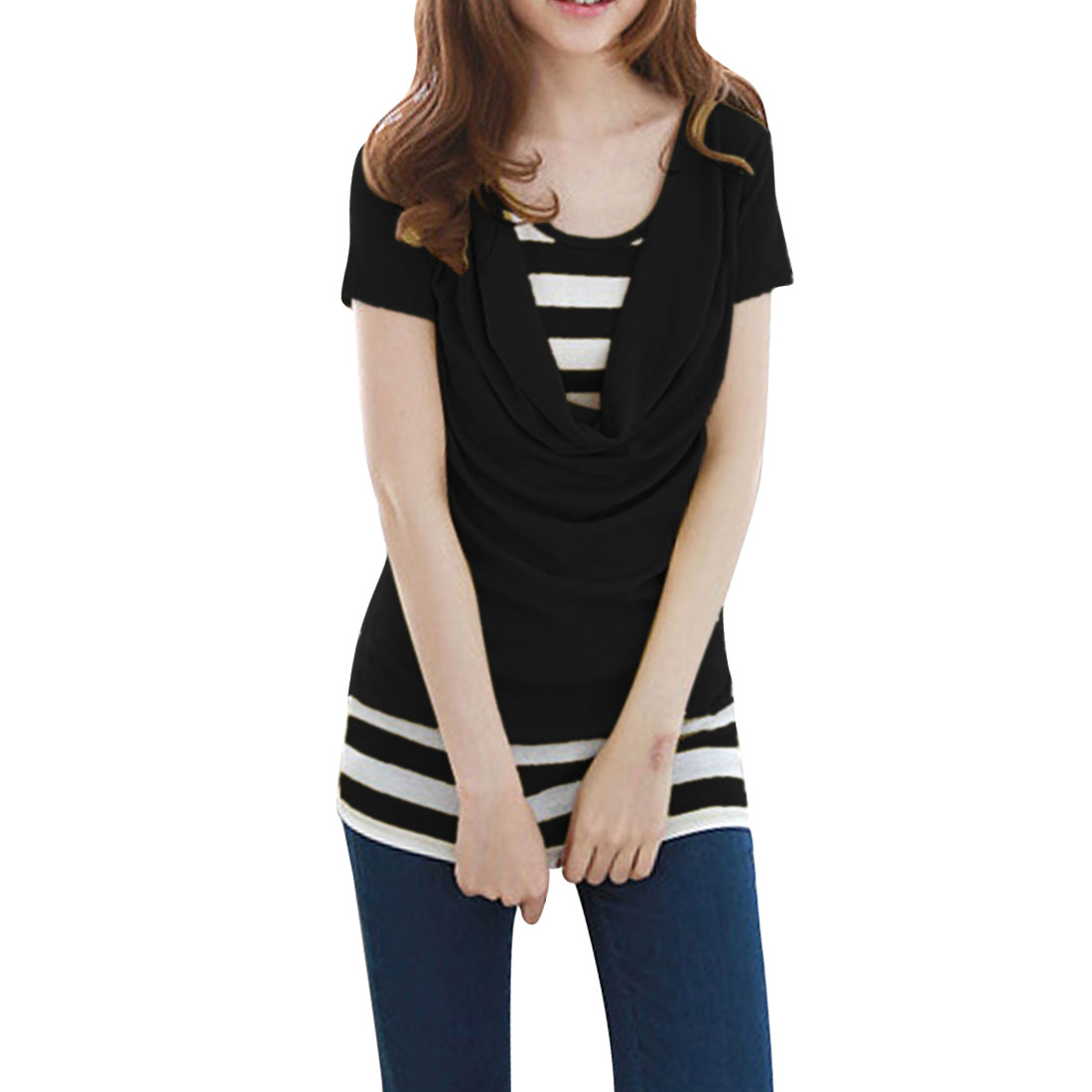 Ladies New Style Cowl Neck Short Sleeve Stripes Pattern Black White Shirt XS