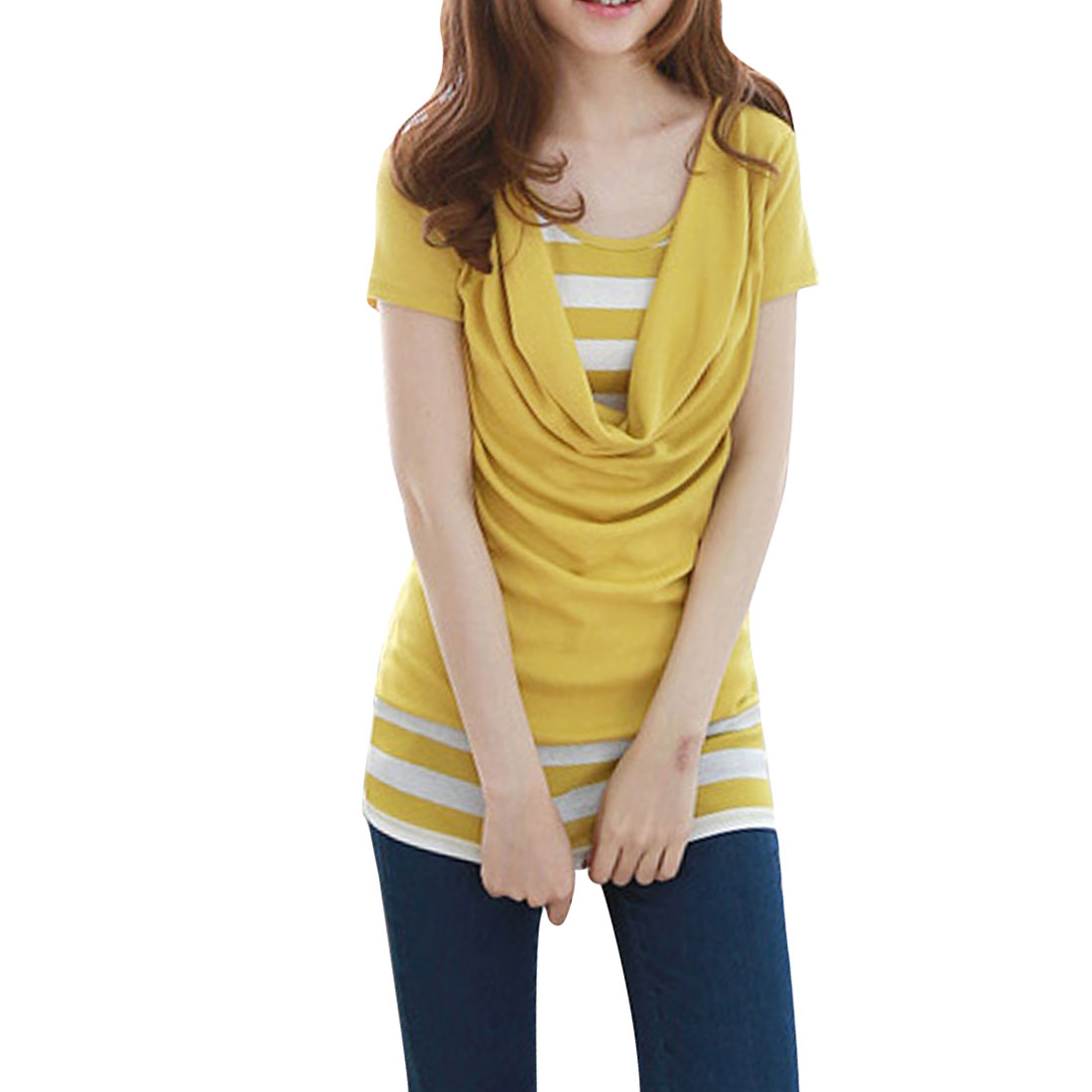 Women Fashion Cowl Neck Stripes Pattern Pullover Dark Yellow White Shirt XS