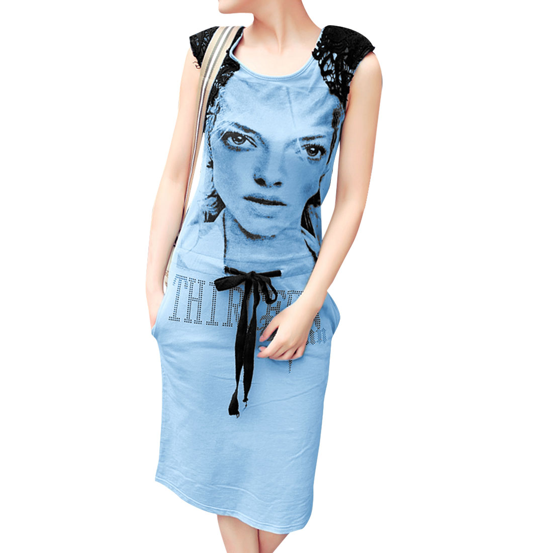 Lady Zipper Back Drawstring Waist Portrait Prints Light Blue Dress XS