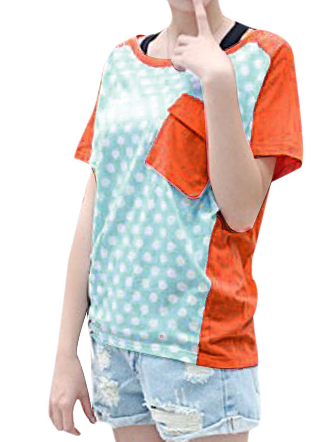 Woman Chic Round Neck Short Dolman Sleeve Dots Pattern Splice Orange Tops S