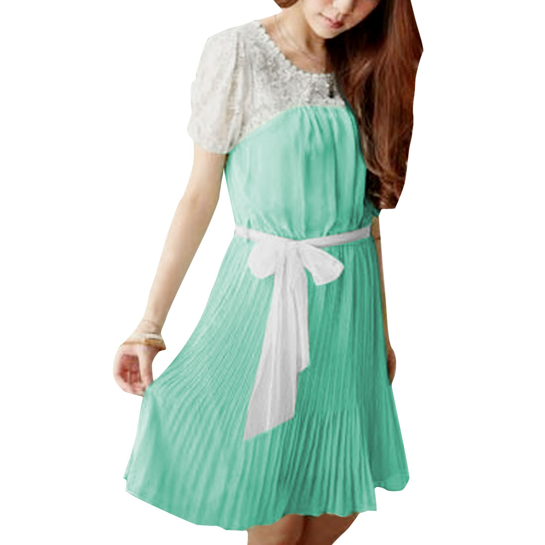 Woman Round Neck Semi-Sheer Short Sleeve Elastic Waist Light Green Mini Dress XS