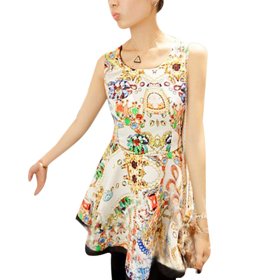 Lady Sleeveless Jewel Prints Trim Zipped Side Ruffle Hem White Dress XS