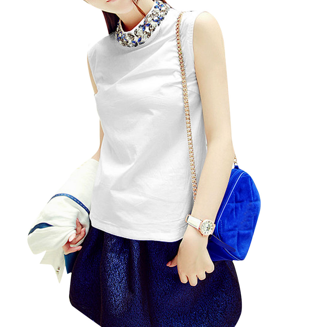 Women Pullover Style Stand Collar Sleeveless Design Casual Blouse White S