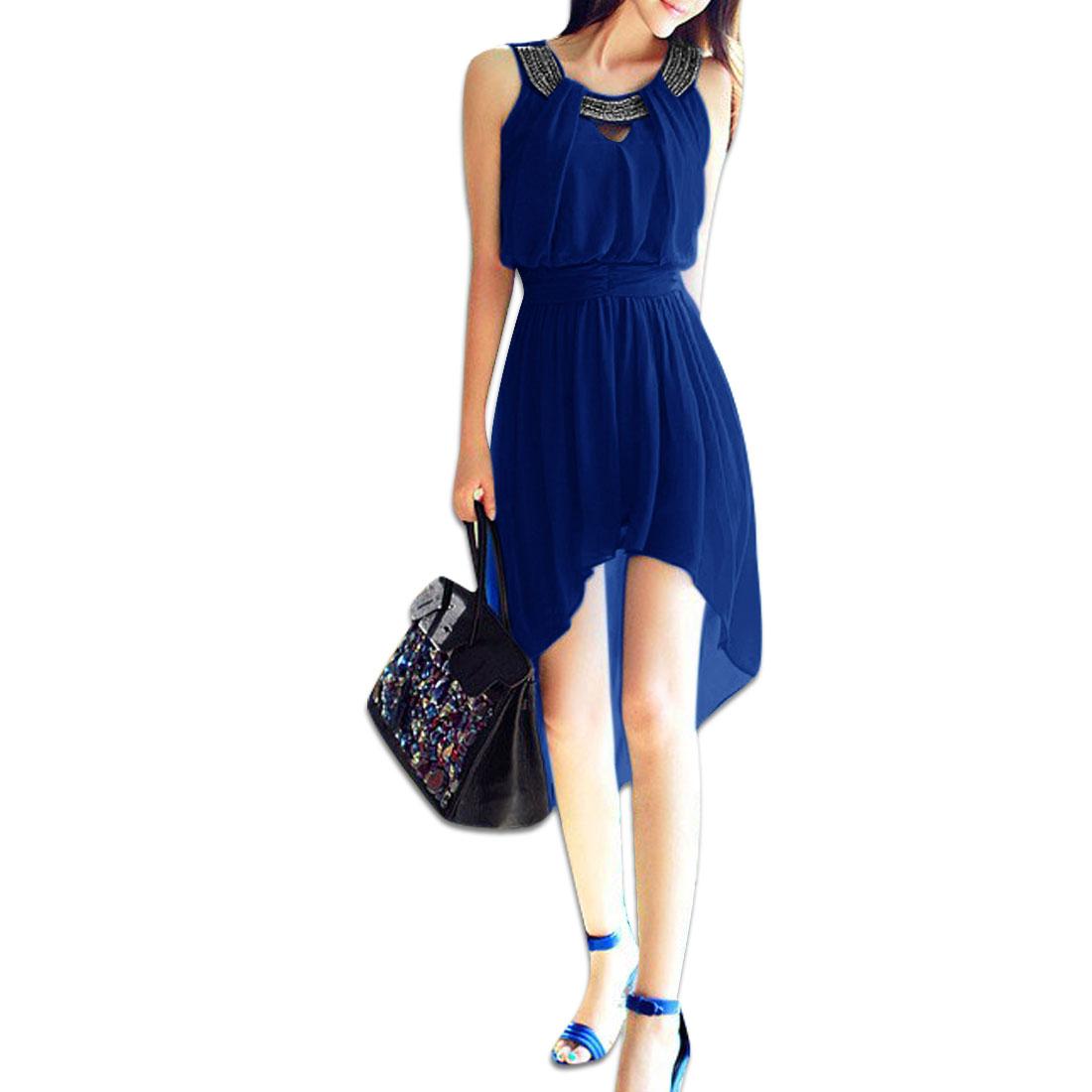 Woman Metalic Chain Decor Round Neck Sleeveless Low-High Hem Royalblue Dress XS