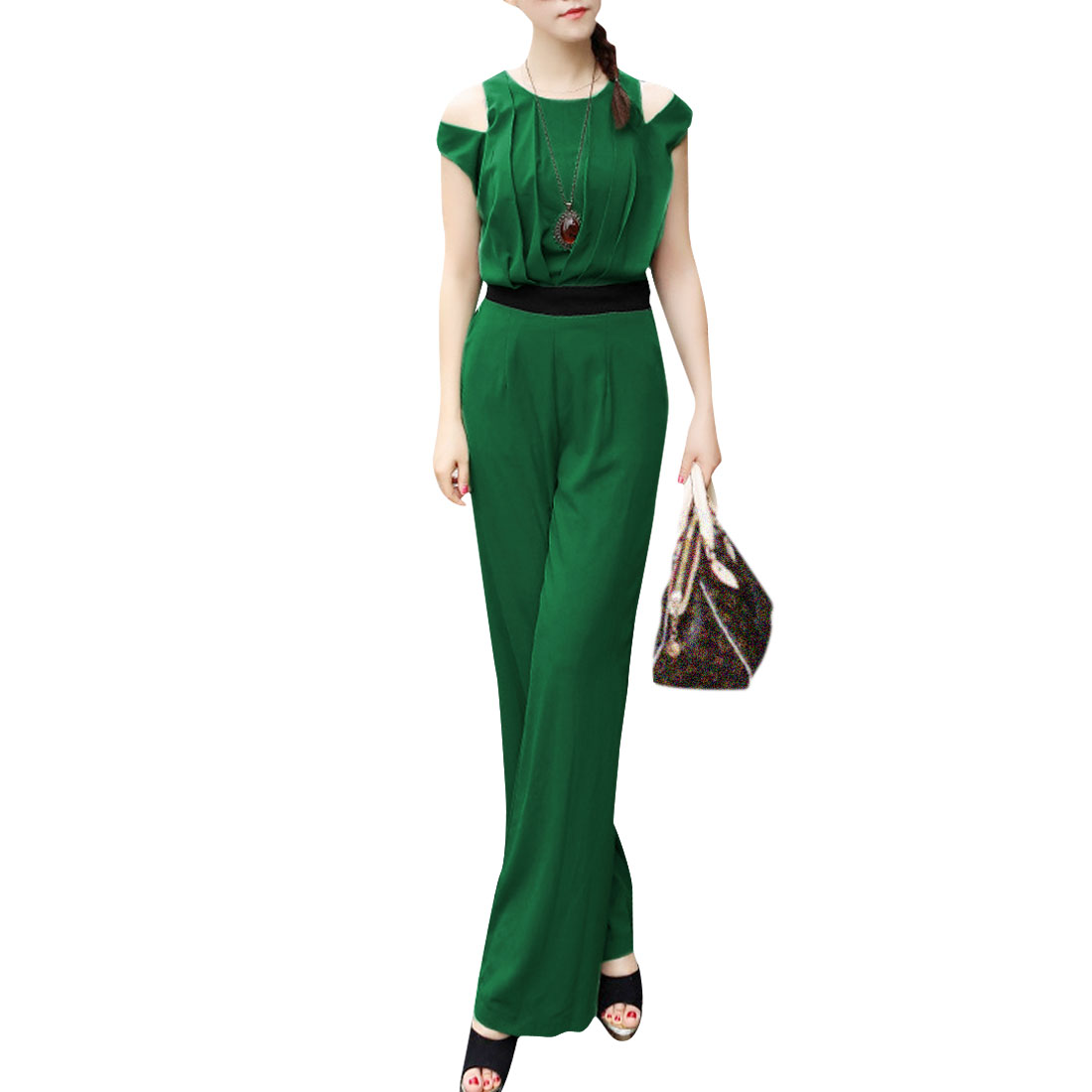 Lady Stylish Round Neck Zipped Back Split Shoulder Dark Green White Jumpsuit XS