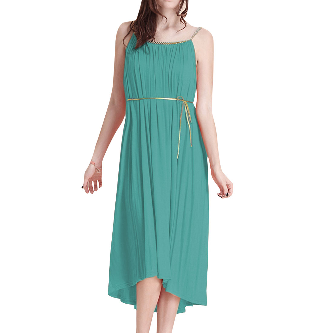 Lady Summer Sleeveless Half Backless Aqua Pleated Dress M