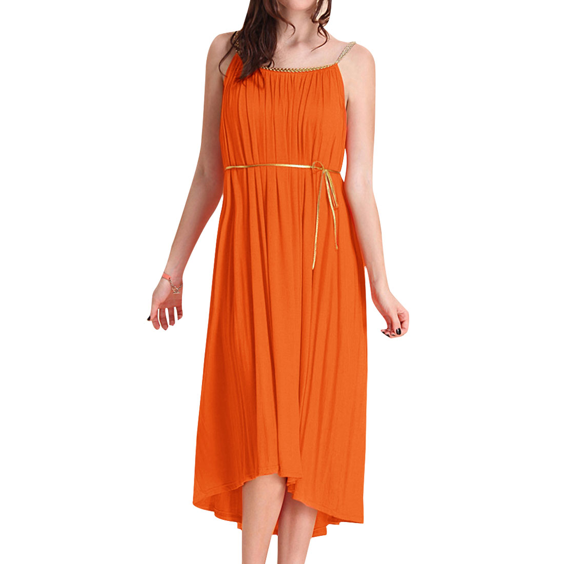 Lady Leisure Half Backless Orange Irregular Hem Long Dress M