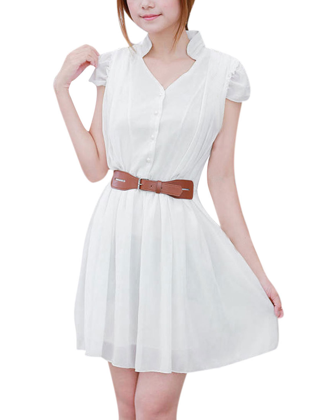 Ladies Stand Collar Pullover Cap Sleeve Ruched Detail Dress White XS