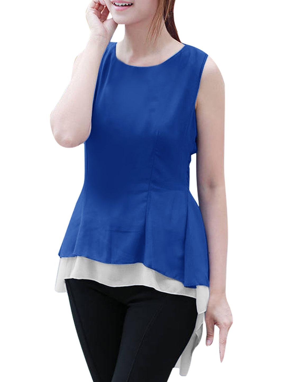 Woman Round Neck Sleeveless Low-High Hem Royalblue White Peplum Tops XS