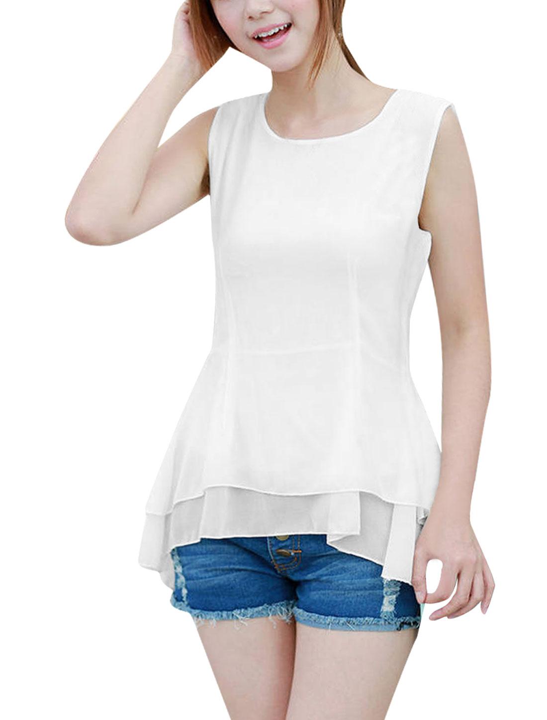 Women Fashion Round Neck Sleeveless Splice Pure White Peplum Tops XS