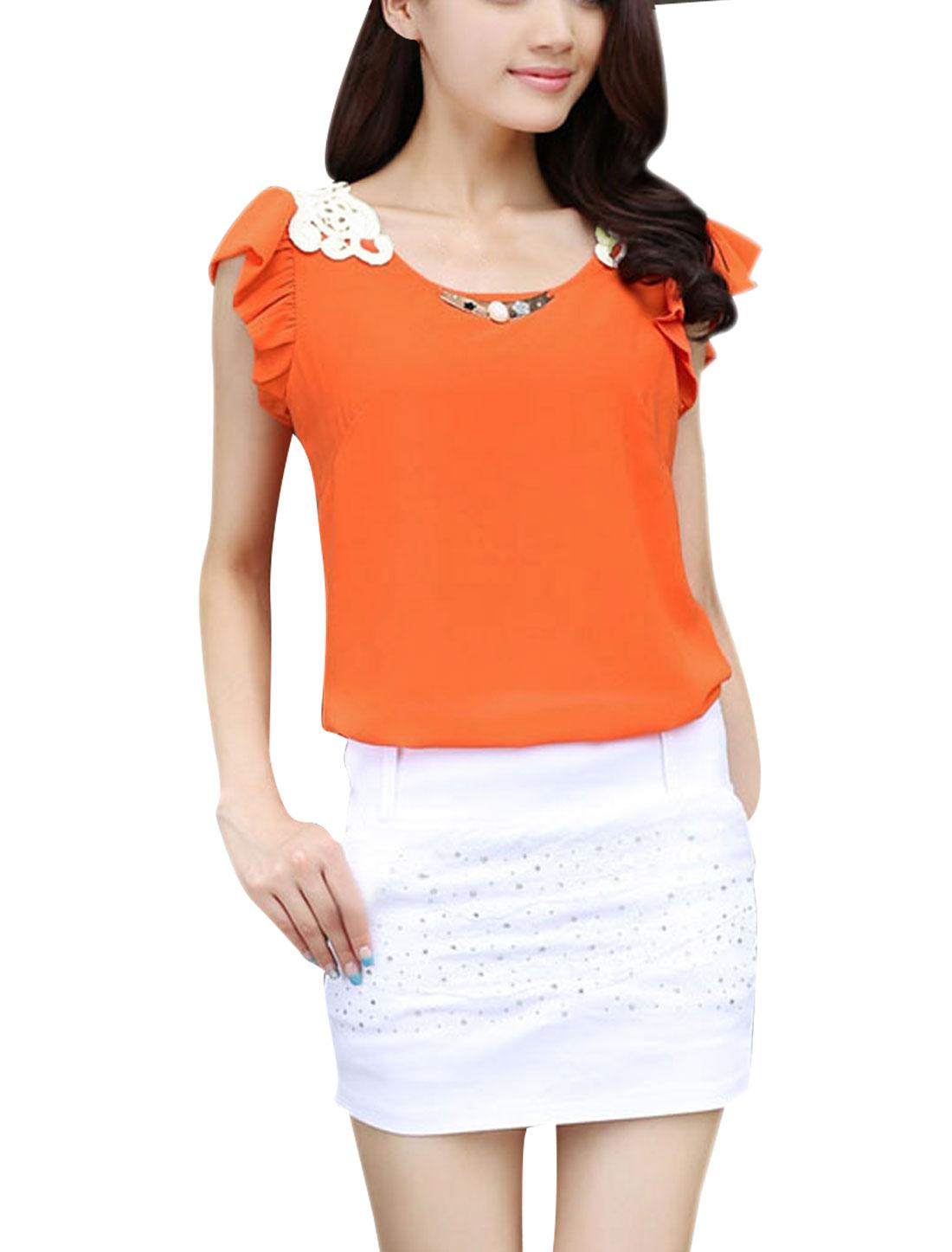 Ladies Pullover Cap Sleeve Metal Decor Casual Blouse Orange S