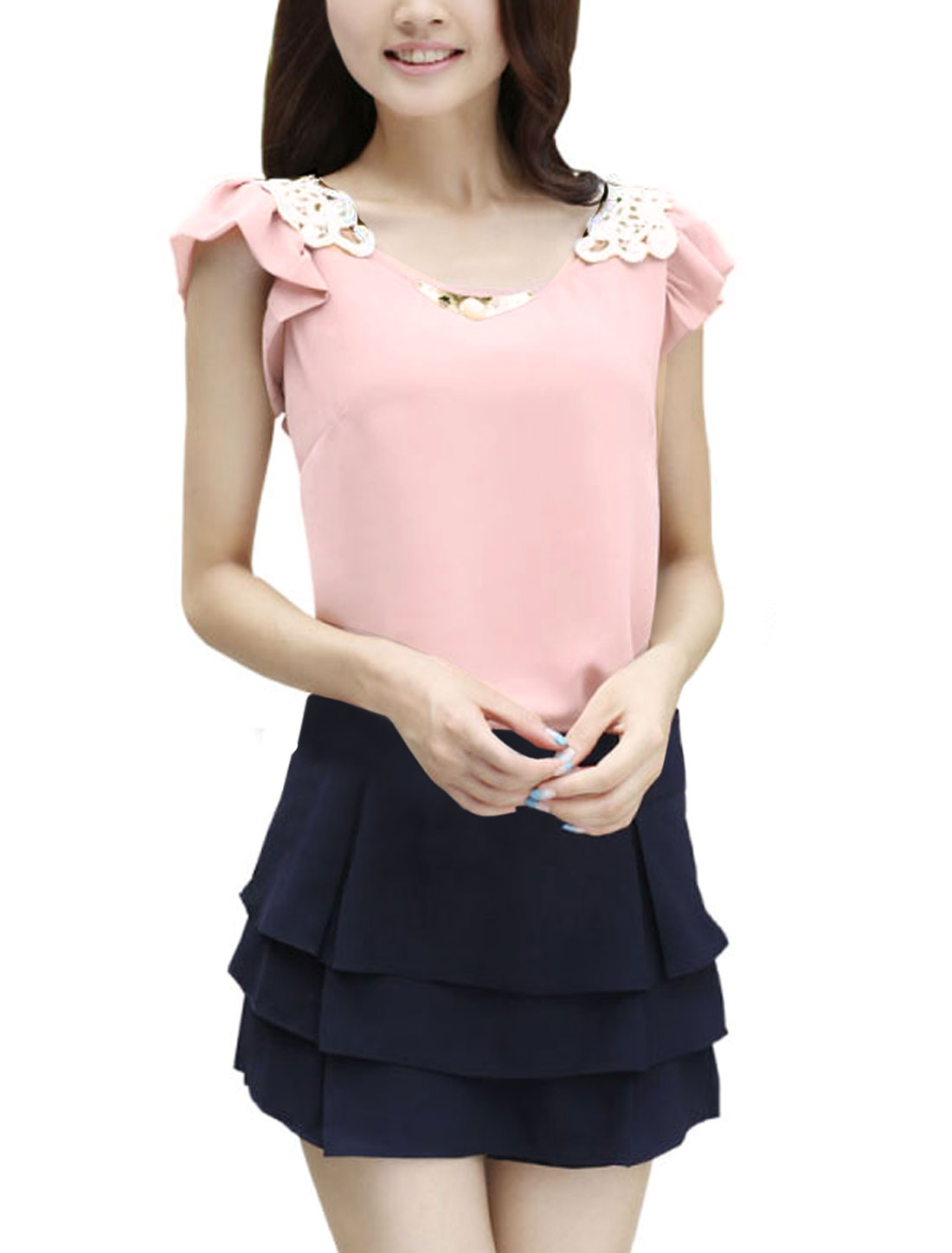 Ladies Flouncing Sleeve Round Hem Metal Decor Casual Blouse Pink S