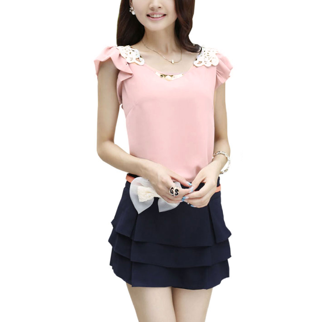 Ladies Round Neck Cap Sleeve Round Hem Casual Blouse Pink XS