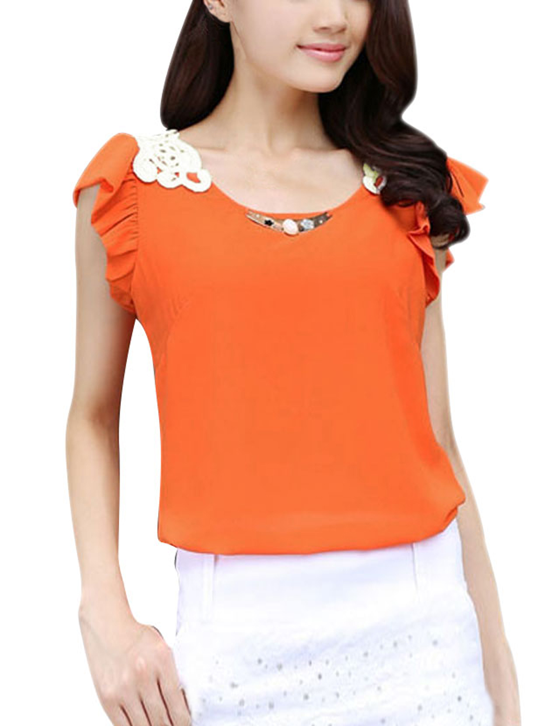 Ladies Pullover Round Hem Summer Wearing Casual Blouse Orange XS