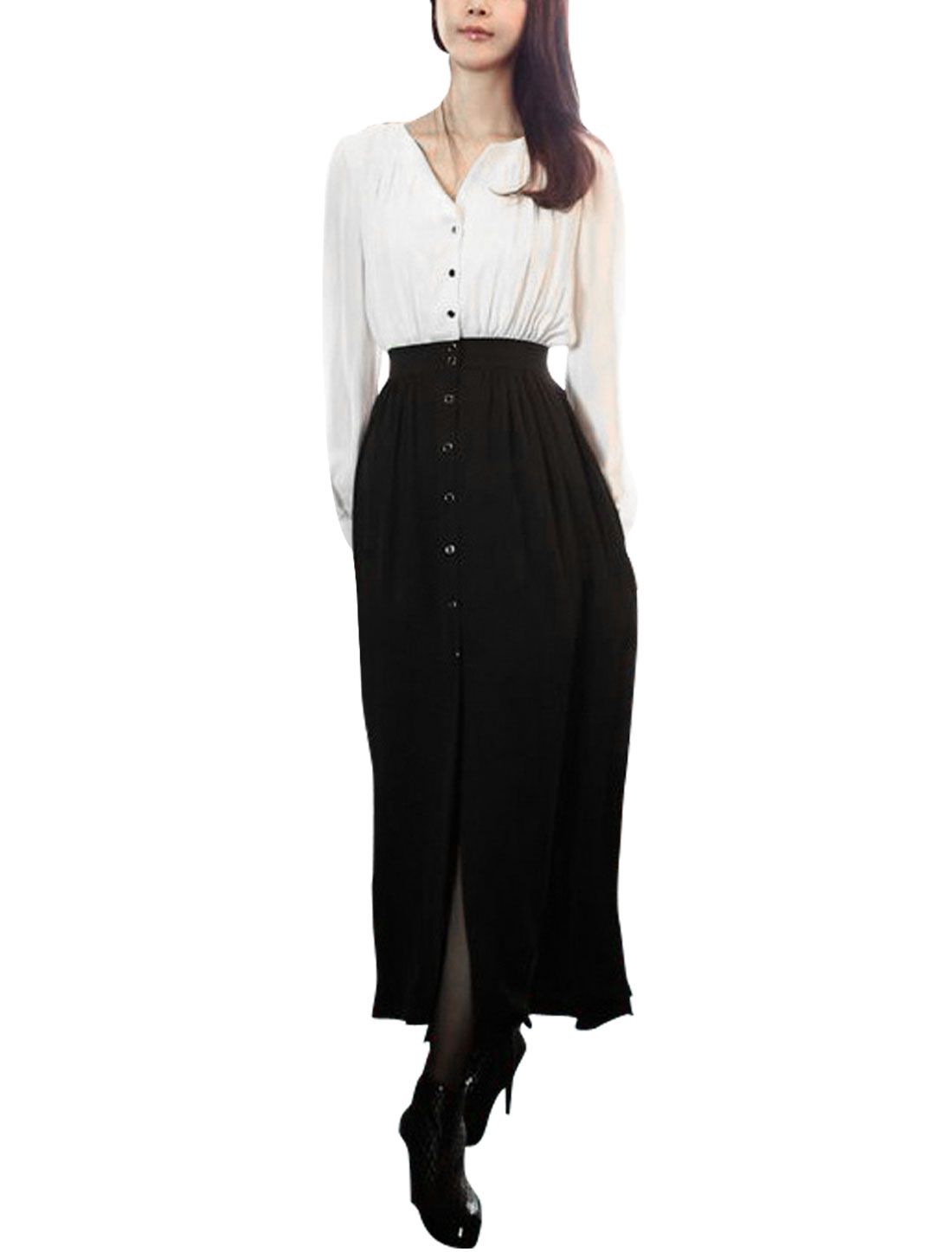 Ladies Stand Collar Button Up Long Sleeve Color Block Dress White Black S