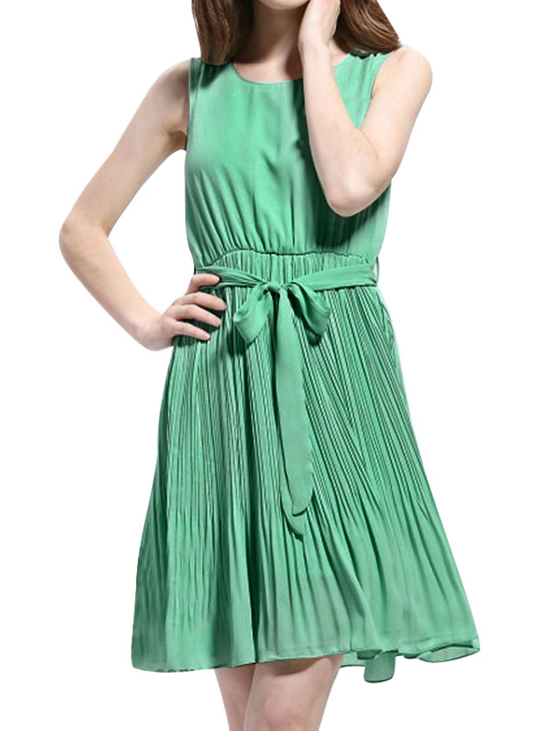 Lady Strap Stretchy Waist Pullover Lining Pleated Light Teal Dress M