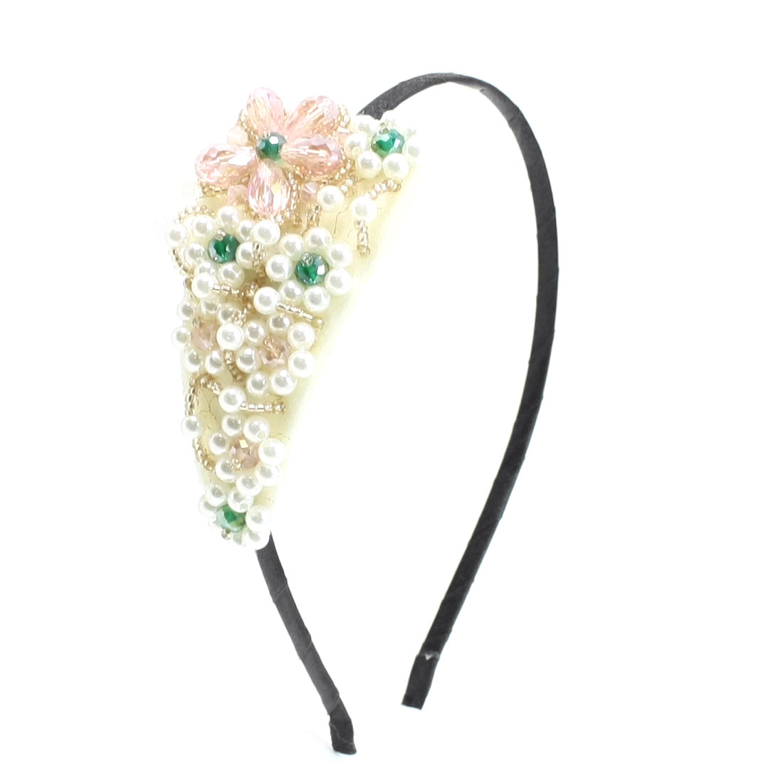 Light Pink Beads Leaf Shaped Headband Hair Band Decortion for Ladies