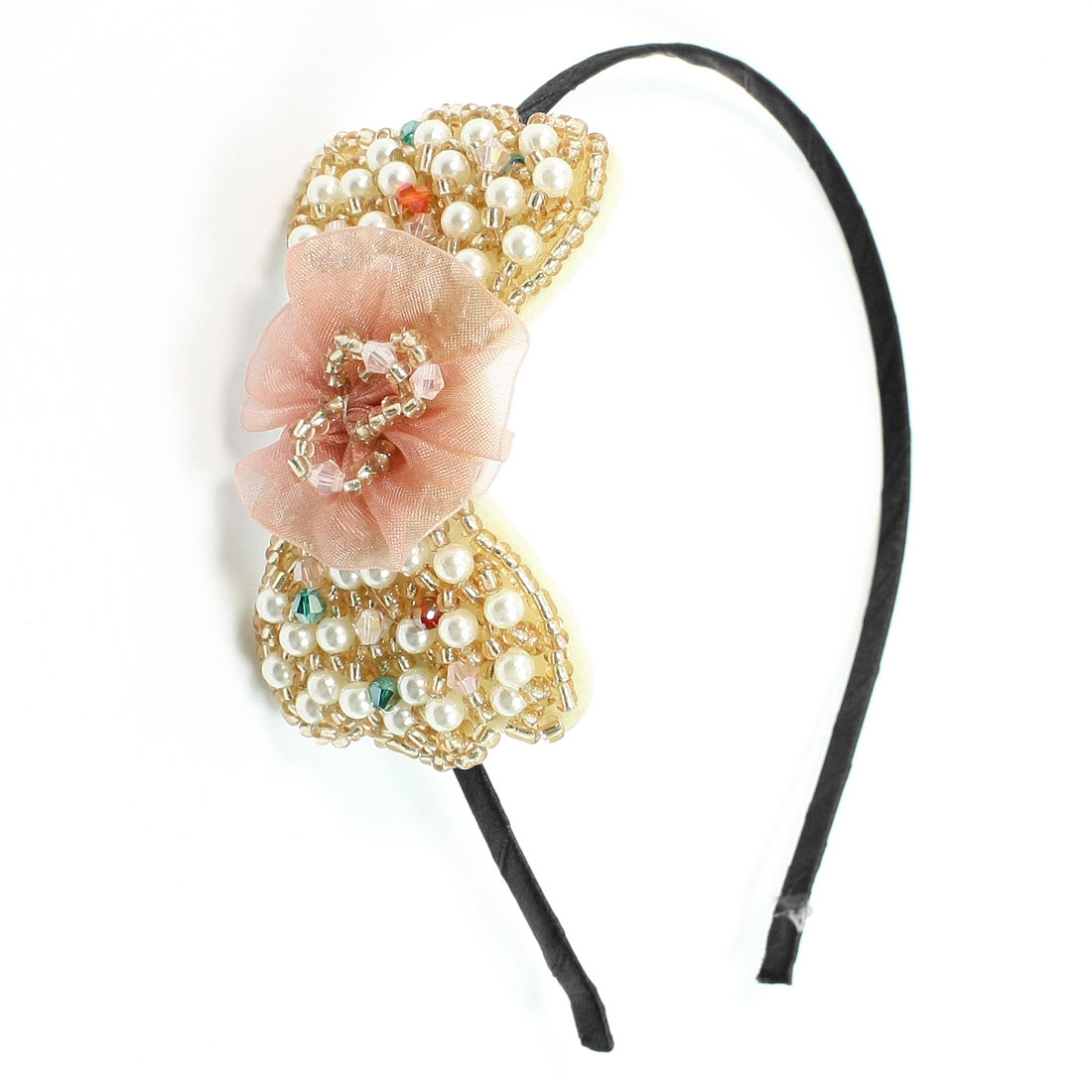 White Plastic Multi Beads Crystal Bowknot Metal Hair Hoop Bow for Woman
