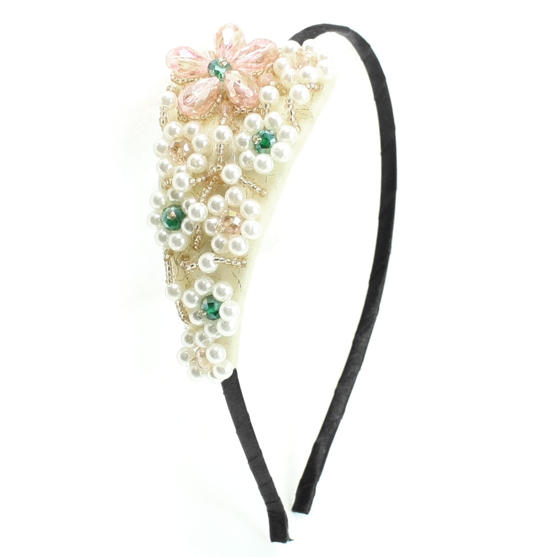 Light Pink Beads Leaf Shaped Headband Hair Band Decoration for Lady