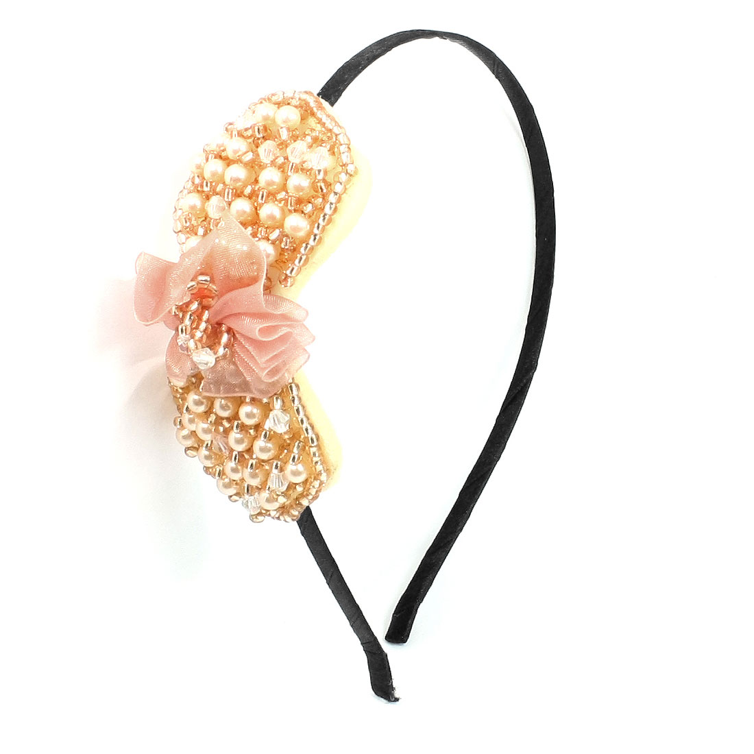 Lady Gauze Flower Beads Detail Bowtie Crystal Metal Headband Hair Hoop