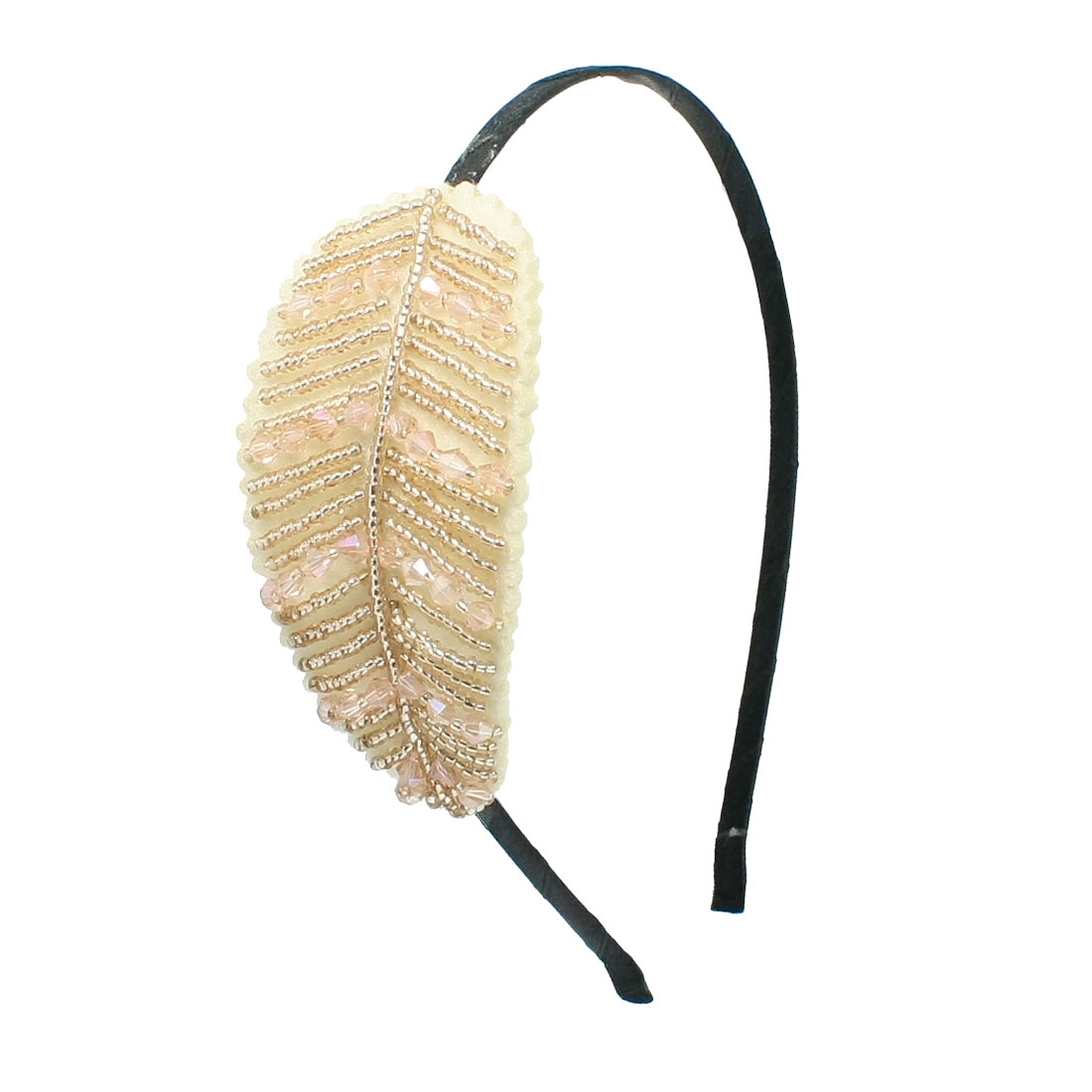 Women Multi Beads Leaf Shaped Decor Fabric Coated Hair Hoop Band