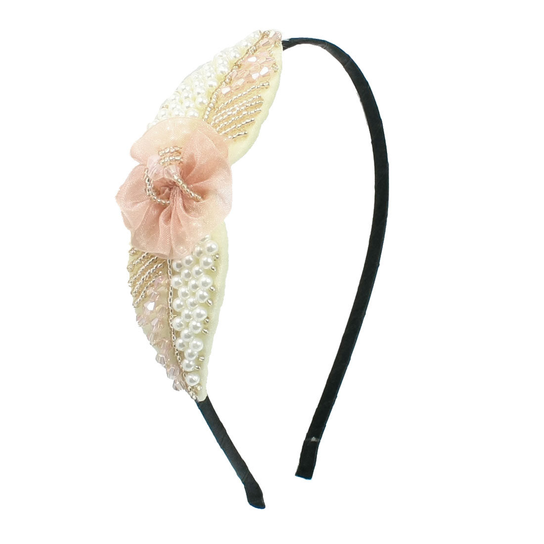 Faux Beads Detail Flower Ornament Metal Headband Hair Hoop Beige Black