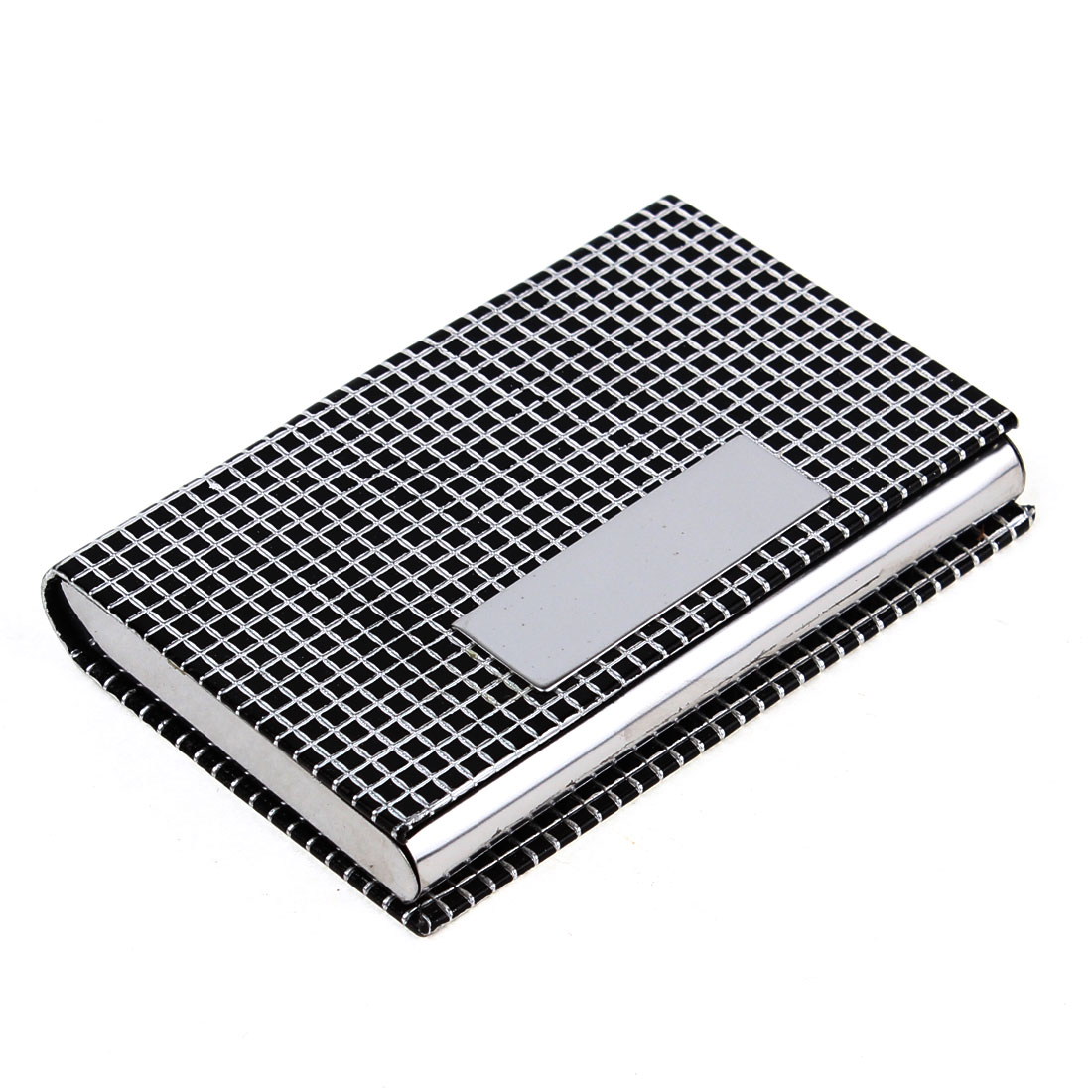 Magnetic Closure Black Silver Tone Grid Print Metal Bank Card Holder Box Case