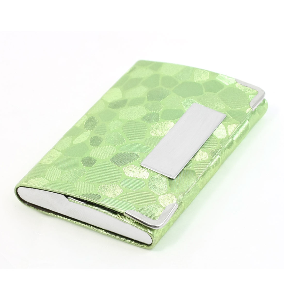 Light Green Block Stone Pattern Magnetic Flap Closure Business Name Card Holder