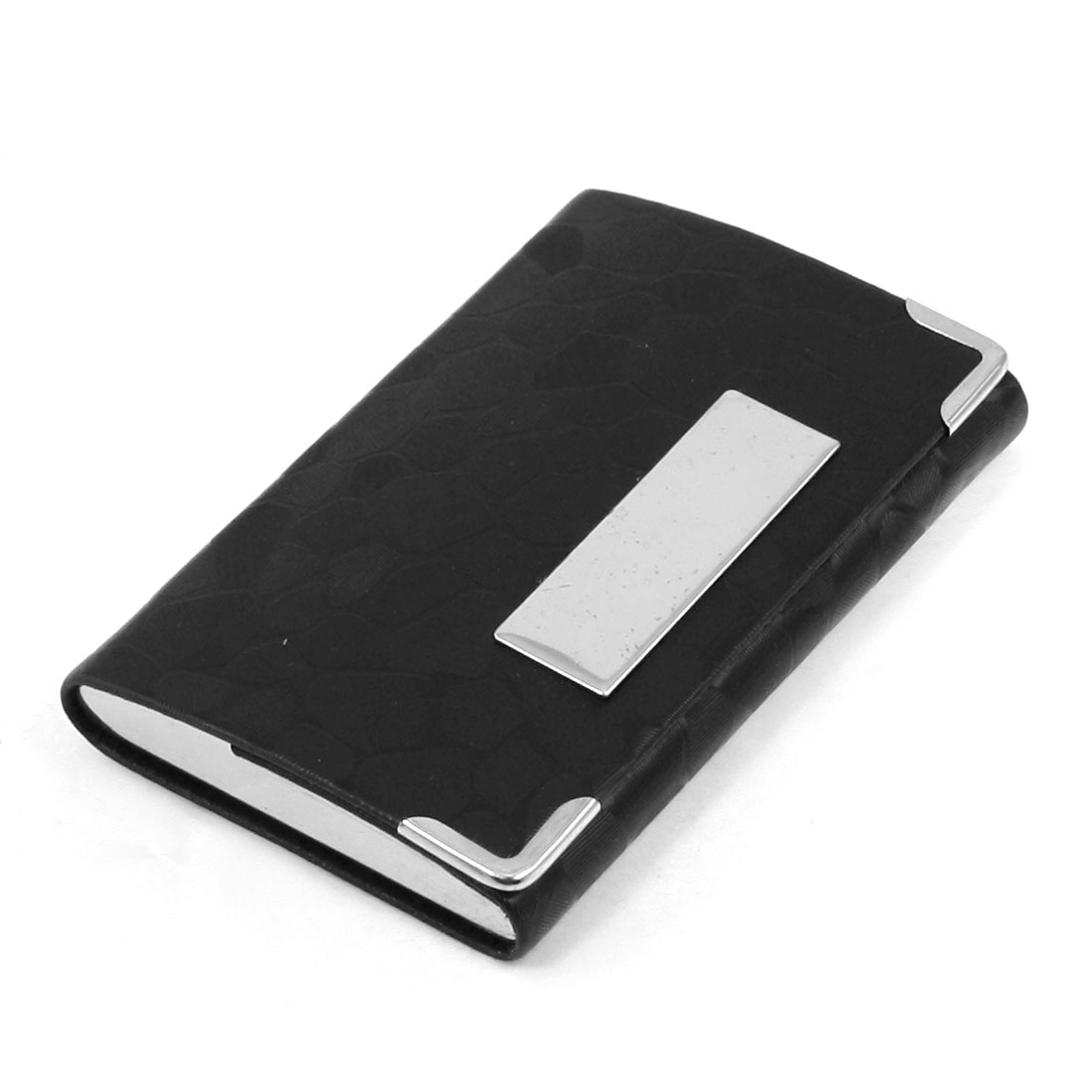 Mirror Polish Metal Detail Black Faux Leather Magnetic Flap Closure Business Card Holder