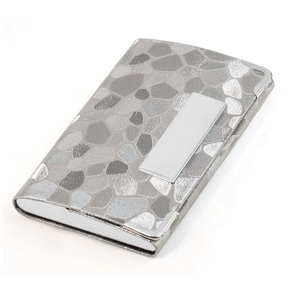Mirrored Metal Detail Gray Block Stone Prints Magnetic Flap Closure Business Card Holder