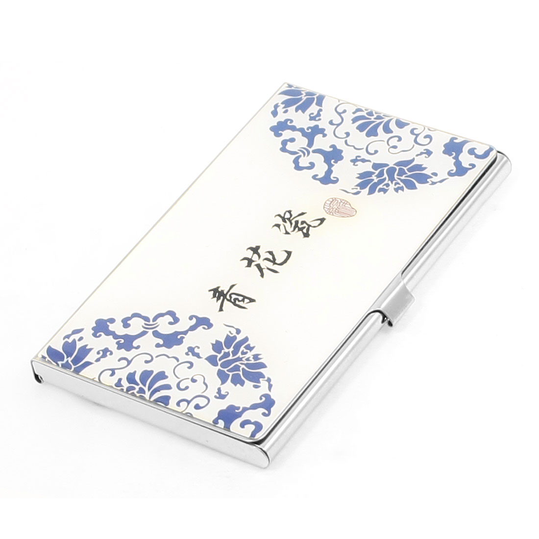 Chinese Blue and White Porcelain Pattern Mirrored Metal Business Name Card Holder