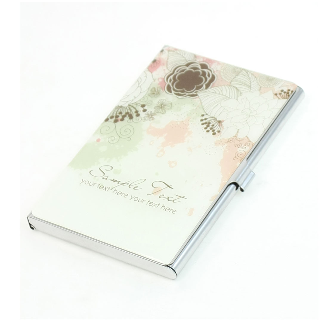 Colored Leaves Flower Print Rectangular Mirrored Metal ID Business Card Holder Organizer