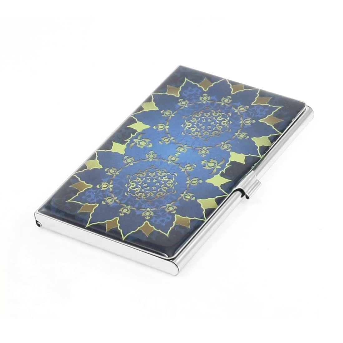 Blue Beige Double Flower Pattern Mirror Polished Rectangle Business Name Card Holder Case