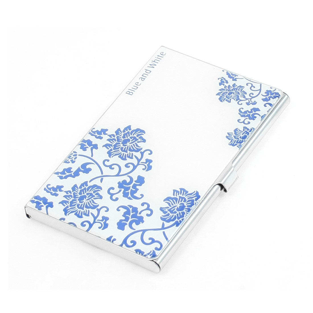 White Blue Peony Flower Pattern Mirrored Metal VIP Business Card Holder Case
