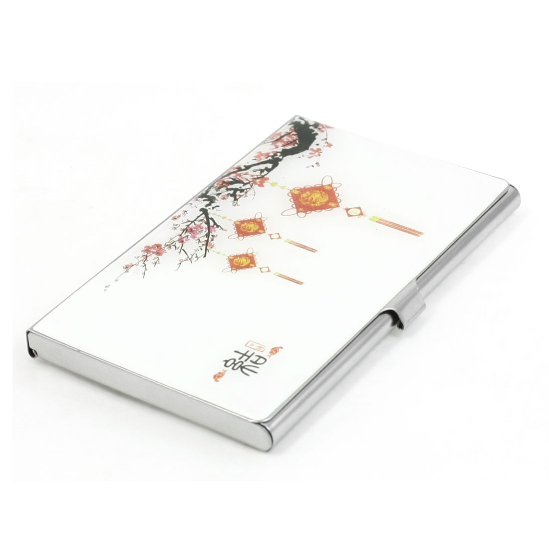 Chinese Knot Wintersweet Flowers Pattern Mirror Polished Metal Business Card Holder