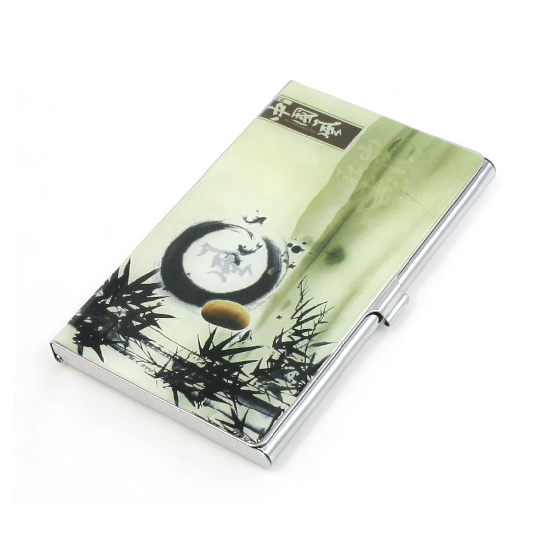Chinese Bamboo Landscape Painting VIP Business Name Card Holder Organizer Dark Green