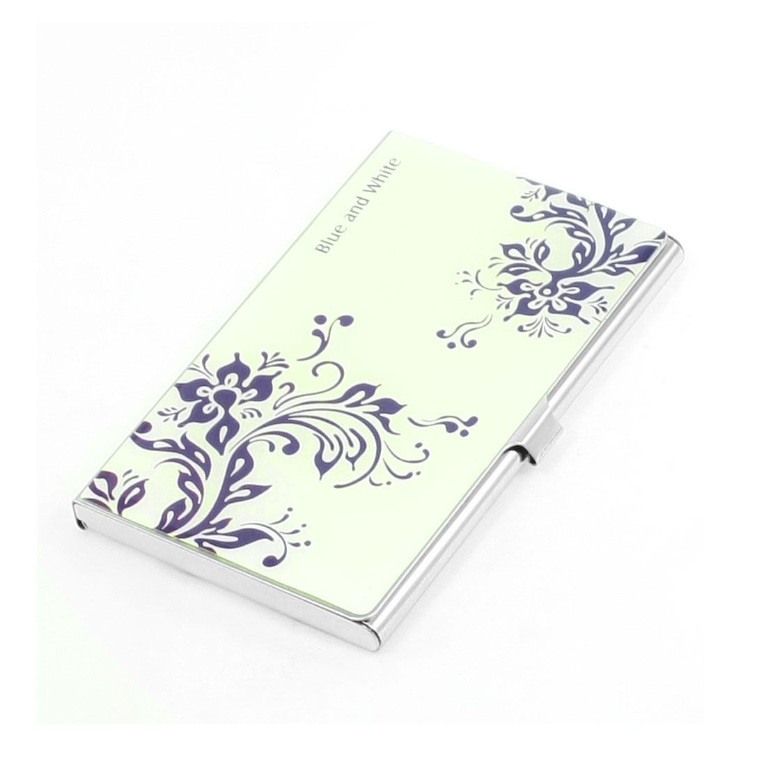 Mirror Polish Metal Beige Purple Floral Vines Print VIP Business Name Card Holder