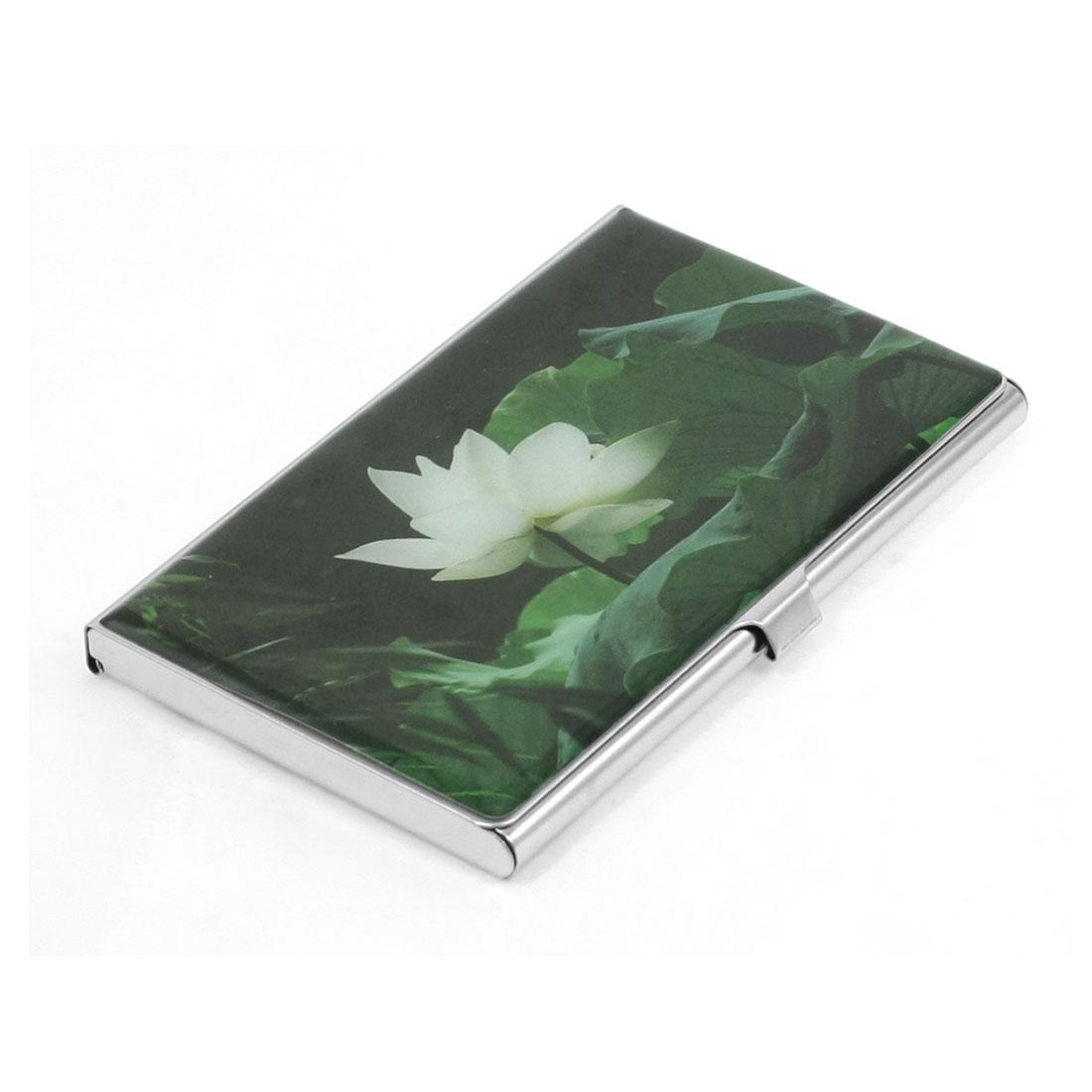 Lotus Leaf Flower Pattern Mirror Polished Metal Business Name Card Holder Dark Green