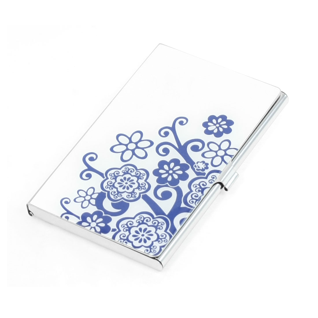 Mirror Polish Metal White Blue Flowers Print VIP Business Name Card Holder Case
