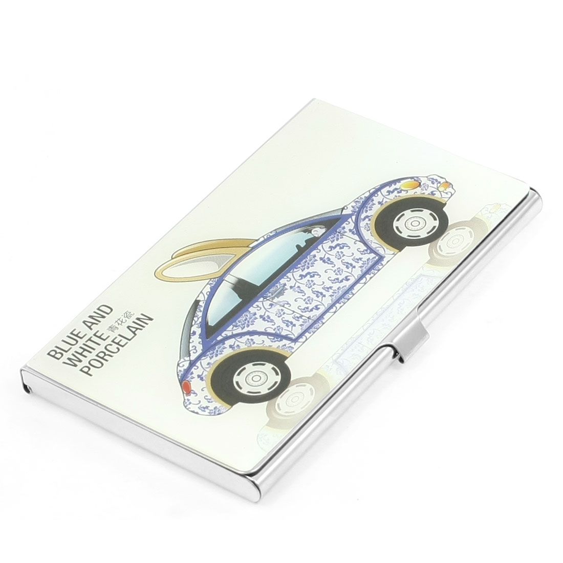 Chinese Blue and White Porcelain Car Print Mirrored Metal Rectangular Business Card Holder