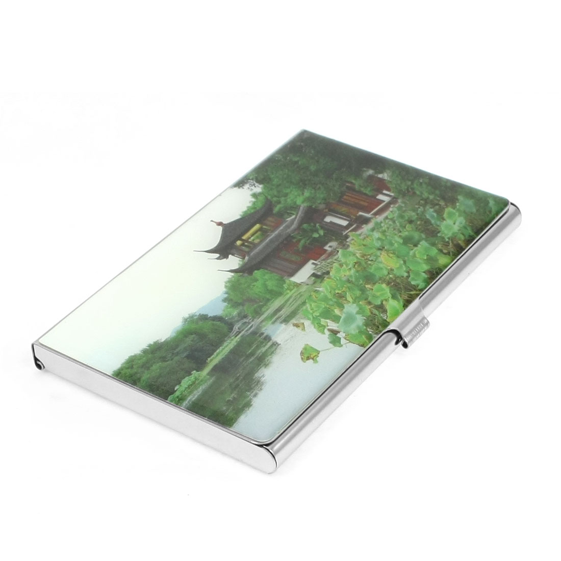 Chinese Nature Landscape Pavilion Pattern Mirror Metal Business Name Card Holder Green