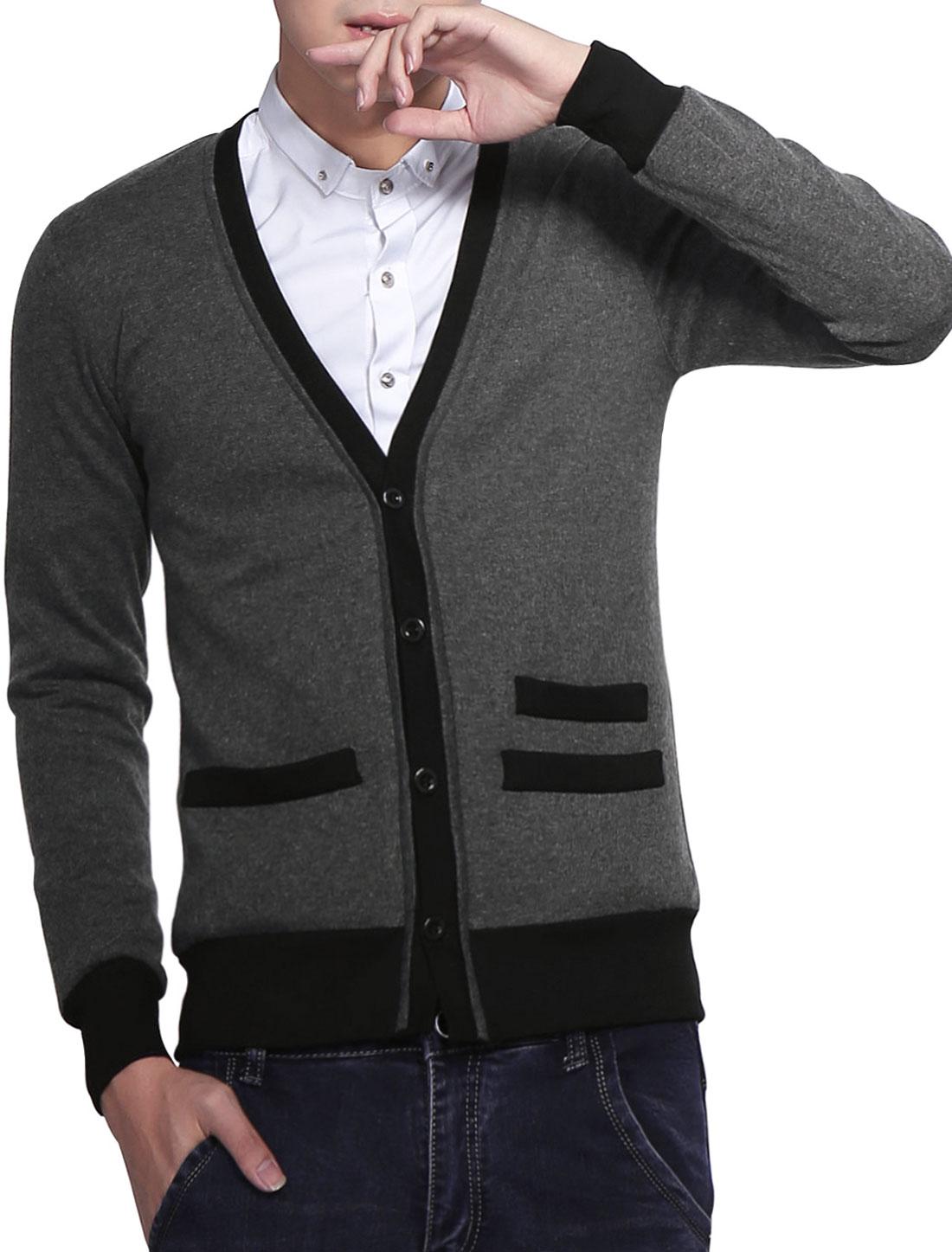 Men Stylish Dark Gray V-neck Ribbing Detail Button Front Cardigan L