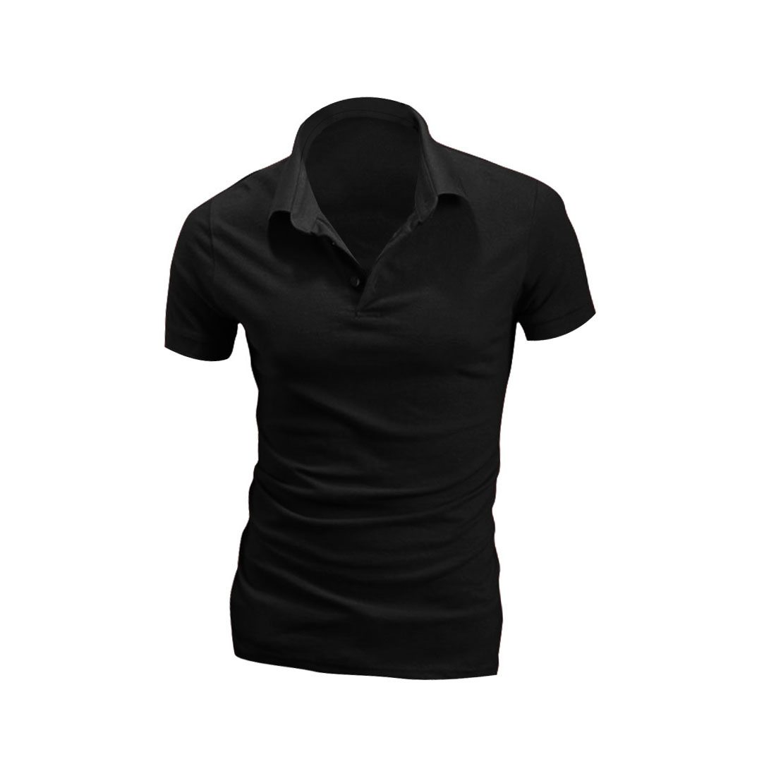 Men Solid Color Short-sleeved Buttons Up Front Shirt Black M