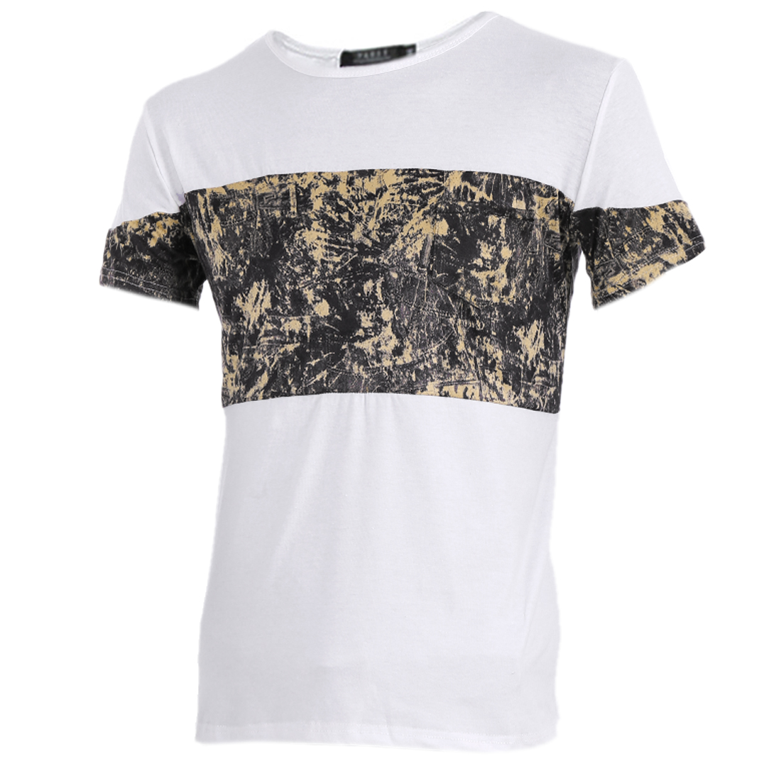Men New Style Round Neck Short Sleeve Novelty Prints Splice White Shirt S