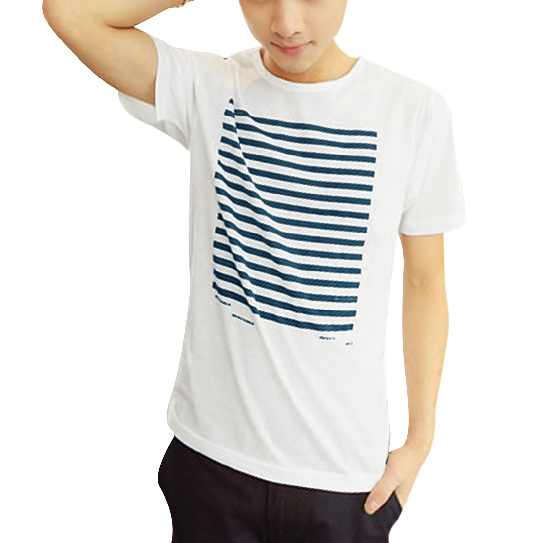 Men Chic Short Sleeve Stripes Prints Slim Fit White Shirt S