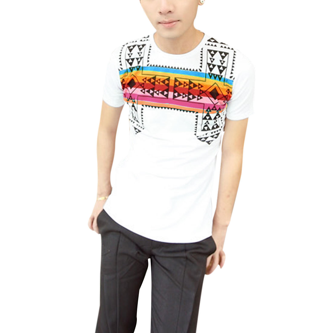 Men Summer Crew Neck Argyle Prints Trim Slim Fit White T-Shirt S